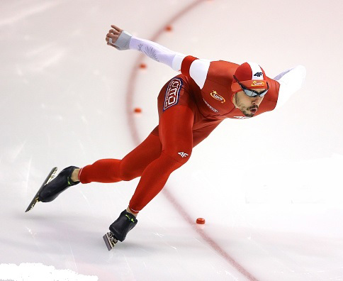 skates during the first 500m men Divison A race during day 1 of ISU Speed Skating World Cup Final at Thialf Ice Arena on March 11, 2016 in Heerenveen.